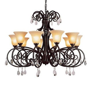 Cambridge 12-Light Dark Bronze 45.75 in. Chandelier with Beige Glass