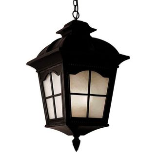 Cambridge Black Finish Outdoor Hanging Lantern With A Frosted Shade