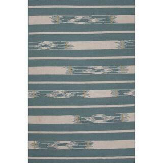 Flatweave Tribal Blue/ Ivory Area Rug (5' x 8')