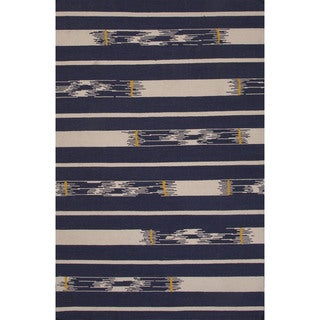 Flatweave Tribal Pattern Blue/ Ivory Area Rug (2x3)