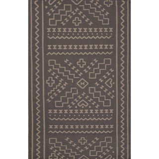 Flatweave Tribal Pattern Grey/ Grey Area Rug (8x11)