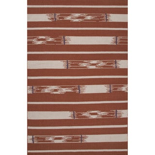 Flatweave Tribal Pattern Red/ Ivory Area Rug (2x3)