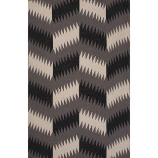 Flatweave Tribal Pattern Black/ Black Area Rug (8x11)