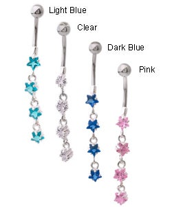 Jewelry Trends 14g Surgical Steel Crystal Star Curved Barbell