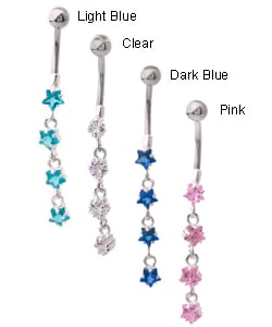 Carolina Glamour Collection 14g Surgical Steel Crystal Star Curved Barbell