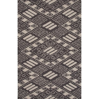 Hand-tufted Tribal Pattern Black/ Black Area Rug (8x11)