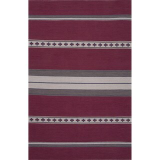 Flatweave Argyle Pattern Pink/ Grey Area Rug (2' x 3')