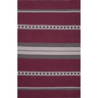 Flatweave Argyle Pattern Pink/ Grey Area Rug (8' x 11')