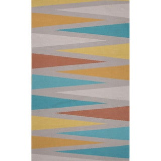 Flatweave Argyle Pattern Grey/ Blue Area Rug (2' x 3')