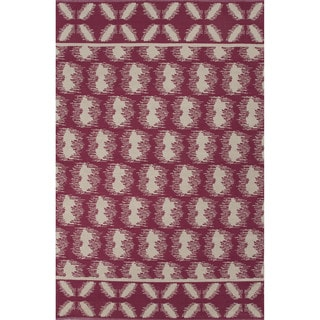 Flatweave Argyle Pattern Pink/ Ivory Area Rug (8' x 11')