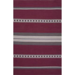 Flatweave Argyle Pattern Pink/ Grey Area Rug (5' x 8')