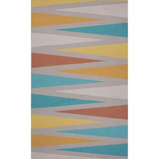 Flatweave Argyle Pattern Grey/ Blue Area Rug (5' x 8')