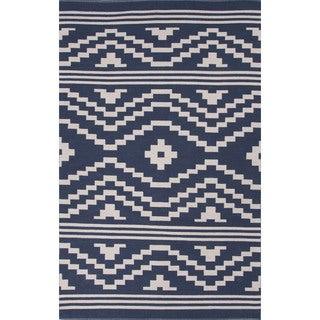 Flatweave Argyle Pattern Blue/ Ivory Area Rug (5' x 8')