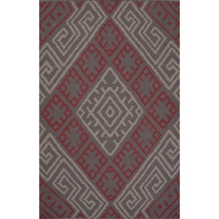 Flatweave Argyle Pattern Pink/ Red Area Rug (5' x 8')