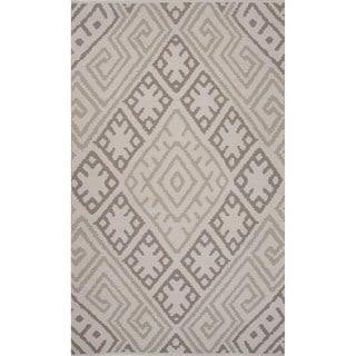 Flatweave Argyle Pattern Grey/ Grey Area Rug (2' x 3')