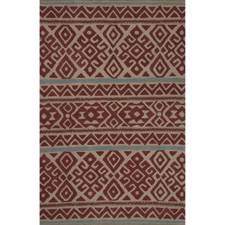 Hand-tufted Argyle Pattern Red/ Red Area Rug (2' x 3')