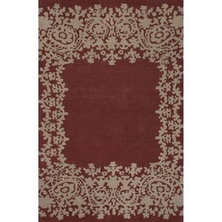Hand-tufted Argyle Pattern Red Area Rug (5' x 8')