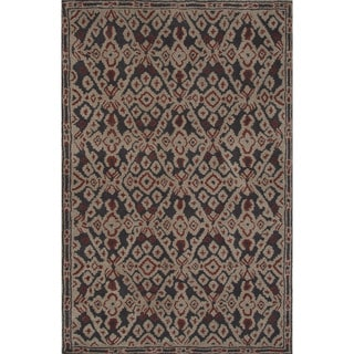 Hand-tufted Argyle Pattern Black/ Black Area Rug (8' x 11')