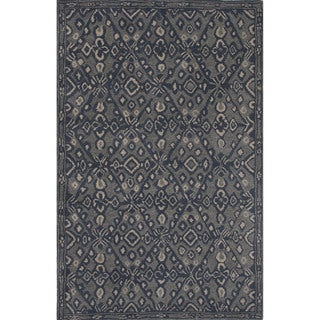 Hand-tufted Argyle Pattern Blue Rug (8' x 11')
