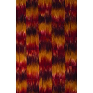 National Geographic Casual Abstract Pattern Chili powder/Bright gold Wool 5x8 Area Rug