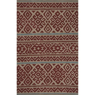 Hand-tufted Argyle Pattern Red/ Red Area Rug (5' x 8')