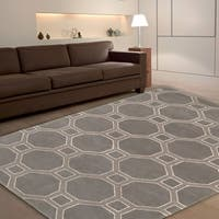 LR Home Hand Tufted Luxor Grey Wool and Viscose Area Rug - 9' x 12'