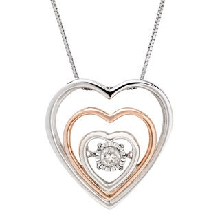 Divina Sterling Silver 1/10ct TDW Two-tone Dancing Diamond Heart Pendant (I-J, I2-I3)