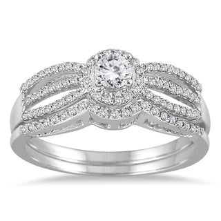 Marquee Jewels 10k White Gold 1/2ct TDW Diamond Antique Bridal Ring Set