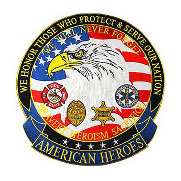U.S. American Heroes 5-inch Medium Embroidered Patch
