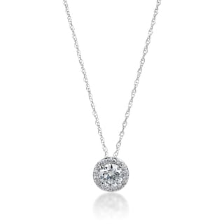 SummerRose 14k White Gold 1/2ct TDW Diamond Halo Slide Necklace