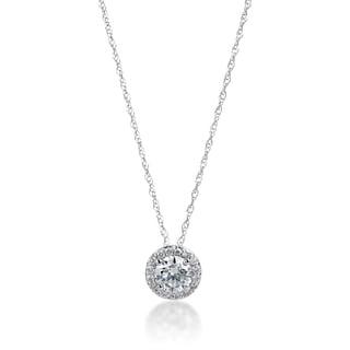 SummerRose 14k White Gold 1/2ct TDW Diamond Halo Slide Necklace (H-I, SI1-SI2)
