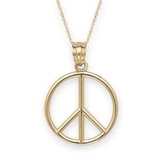 14k Gold Bold Peace Sign Necklace