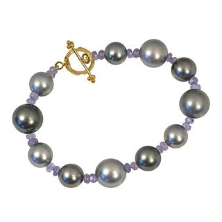 18k Yellow Gold Tahitian Near-round Pearl and Tanzanite Bracelet (9-11 mm)