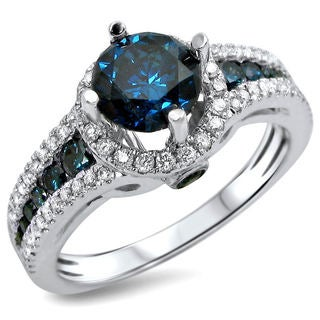 Noori 14k White Gold 1 1/3ct TDW Blue and White Diamond Engagement Ring