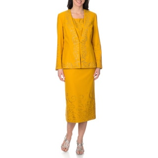 Mia-Knits Collections Women's Rhinestone and Glitter Scroll 3-piece Skirt Suit