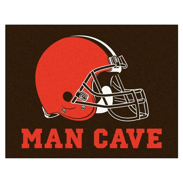 Fanmats Cleveland Browns Black Nylon Man Cave Allstar Rug (2'8 x 3'8)
