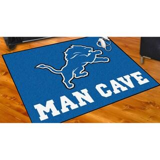 Fanmats Detroit Lions Black Nylon Man Cave Allstar Rug (2'8 x 3'8)