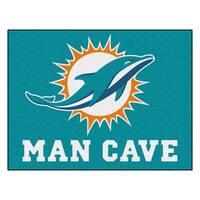 Fanmats Miami Dolphins Turquoise Nylon Man Cave Allstar Rug (2'8 x 3'8)
