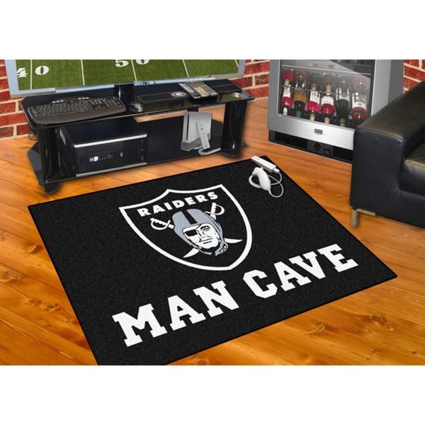 Fanmats Oakland Raiders Black Nylon Man Cave Allstar Rug (2'8 x 3'8)