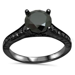 Noori 14k Black Gold 1 1/3ct TDW Black Diamond Engagement Ring