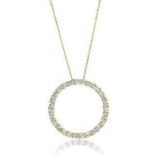 SummerRose 14k Yellow Gold 3ct TDW Diamond Circle Necklace (H-I, VS1-VS2)