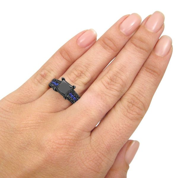 SVC-JEWELS Unique Twisted Round Cut Blue Sapphire Engagement Ring for Women in 14K Black Gold Plated