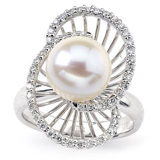Diamonds for a Cure 14k White Gold Freshwater Pearl 1/3ct TDW Diamond Ring (9-10mm) (G-H, SI1-SI2)