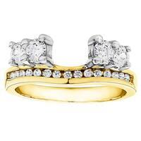 TwoBirch 10k Gold 1/3ct TDW Diamond Solitaire Anniversary Ring Wrap Enhancer - White