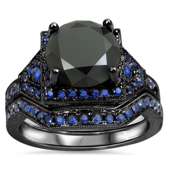 Shop Noori 14k Black Gold 3 1 10ct Black Diamond And Blue