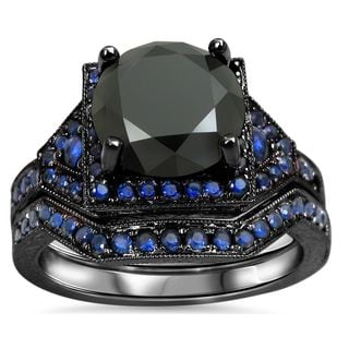Noori 14k Black Gold 3 1/10ct Black Diamond and Blue Sapphire Bridal Ring Set