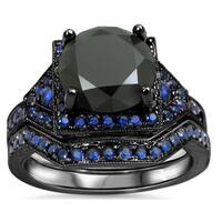 Noori 14k Black Gold 3 1/10ct Black Diamond and Blue Sapphire Bridal Ring Set
