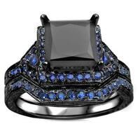 Noori 14k Black Gold 2ct TDW Black Diamond and Blue Sapphire Bridal Ring Set