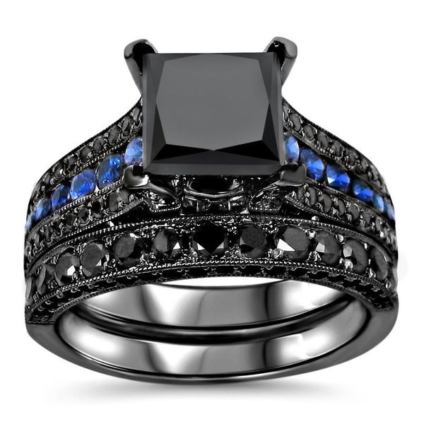 noori 14k black gold 4 14ct tdw certified black diamond and blue sapphire bridal - Blue Sapphire Wedding Ring Sets