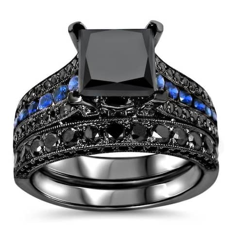 14k Black Gold 4 1/4ct TDW Certified Black Diamond and Blue Sapphire Bridal Ring Set